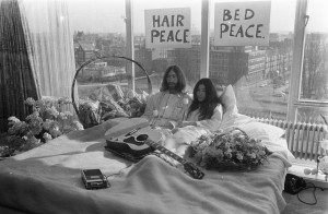 John Lennon and Yoko Ono, Bed-In for Peace, Amsterdam, March 25, 1969.